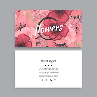 Business card template set with colorful flowers
