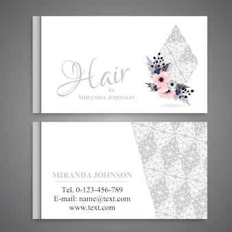Business card template set with flowers