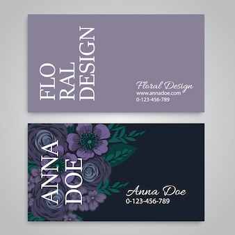 Business card template set with watercolor flowers