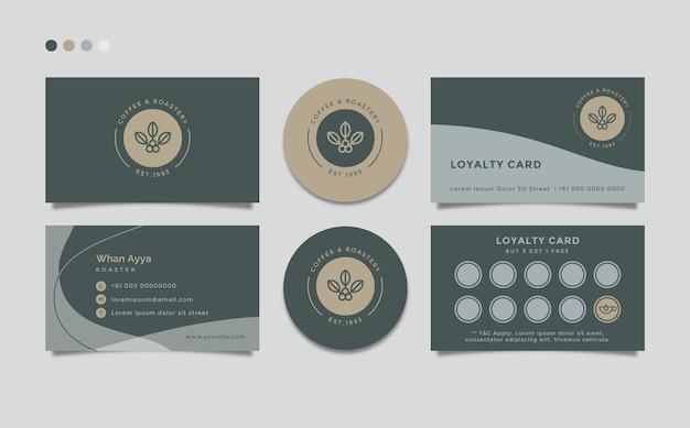 Шаблон визитной карточки простой чистый с кофейной темой