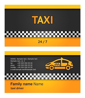 Business card template for taxi