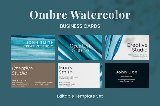 Шаблон визитной карточки вектор ombre акварель для творческих художников набор