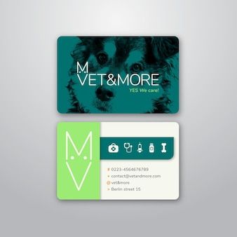 Business card template for veterinary business