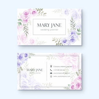 Business card template for wedding planner or florist watercolor floral style