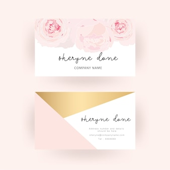 Business card template  white rose and gold background