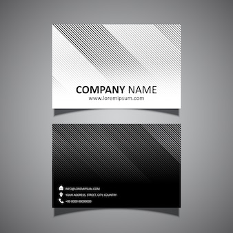 Business card template with a modern striped design