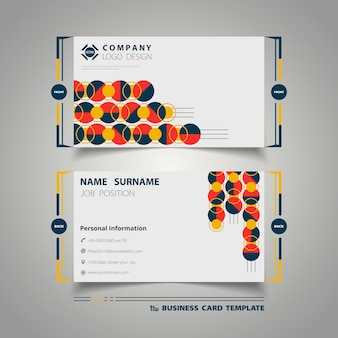 Business card template with abstract circle colorful geometry design