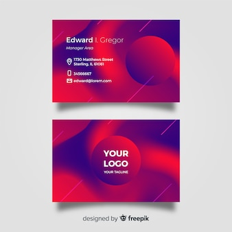 Business card template with abstract duotone gradient shapes