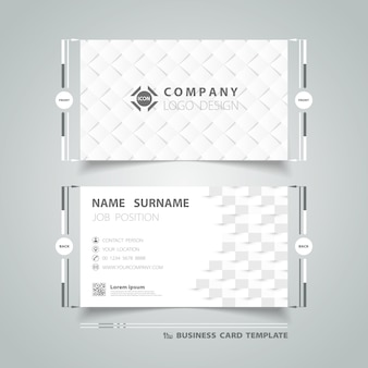 Business card template with abstract gray design