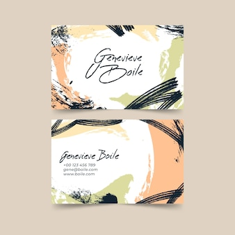 Business card template with abstract pastel-colored stains