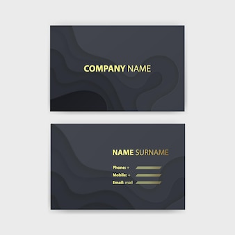 Business card template with abstract realistic paper cut design