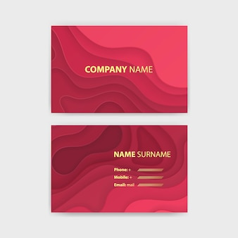 Business card template with abstract realistic paper cut design Premium Vector