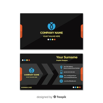 Business card template with abstract shape