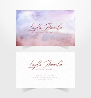 Business card template with abstract watercolor background