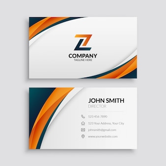 Business card template with abstract waves