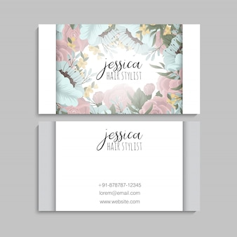 Business card template with beautiful flowers