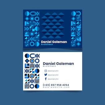 Business card template with blue design