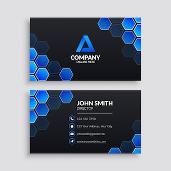 Business card template with blue hexagon pattern