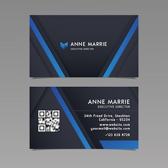 Business card template with blue lines