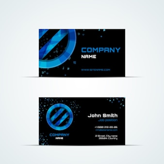 Business card template with blue sign. visit and phone number, business address, job position, vector illustration