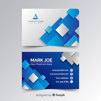 Business card template with blue squares