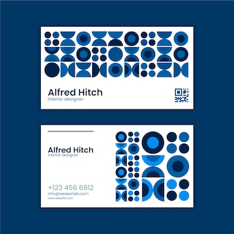Business card template with blue theme