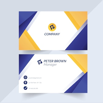 Business card template with blue and yellow shapes