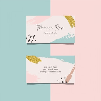 Business card template with brush element and golden glitter brush