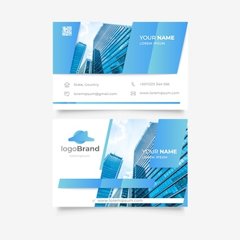 Business card template with buildings