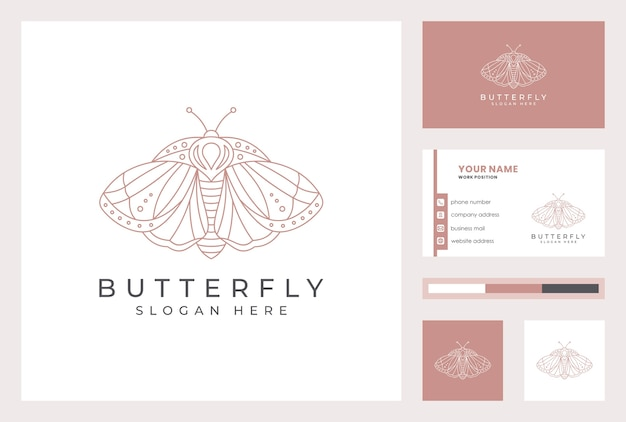 Business card template with butterfly logotype in line art style.