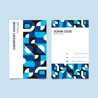 Business card template with classic blue concept