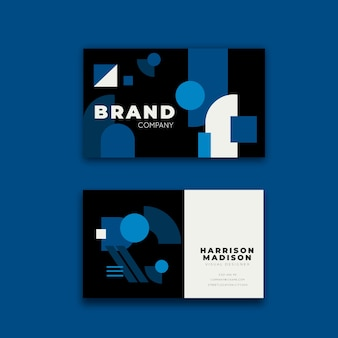 Business card template with classic blue design