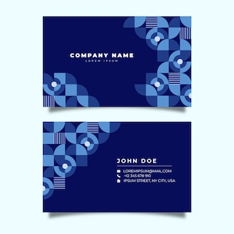 Business card template with classic blue geometrical shapes