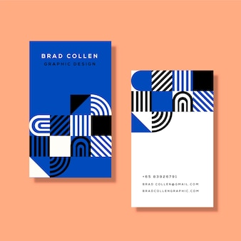 Business card template with classic blue shapes