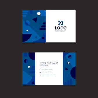 Business card template with classic blue theme