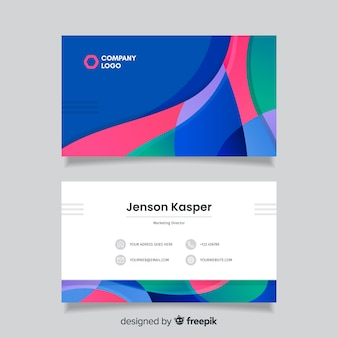 Business card template with colourful background