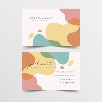 Business card template with colours in pastel