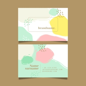 Business card template with colours in watercolour pastel