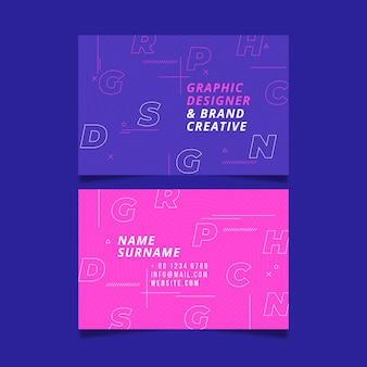 Business card template with creative letters