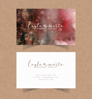 Business card template with dark red abstract splash watercolor