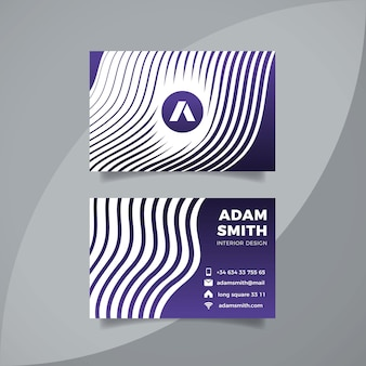 Business card template with distorted lines