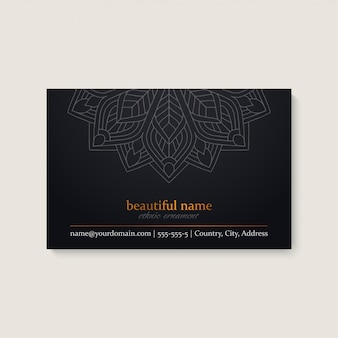 Business card template with ethnic mandala design