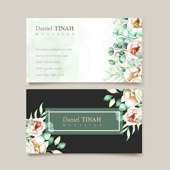 Business card template with eucalyptus leaves set