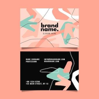 Шаблон визитной карточки с плоскими абстрактными формами дизайна