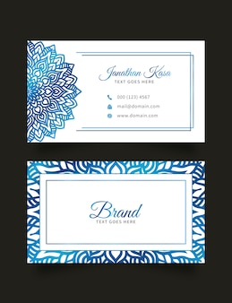 Business card template with floral abstract background