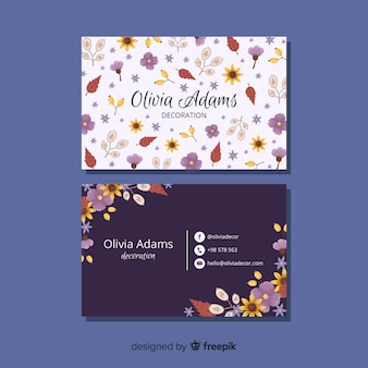 Business card template with floral concept