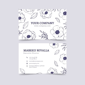 Business card template with floral design