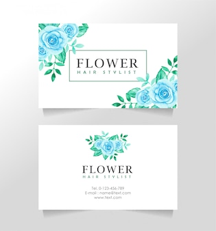 Business card template with floral theme for florist