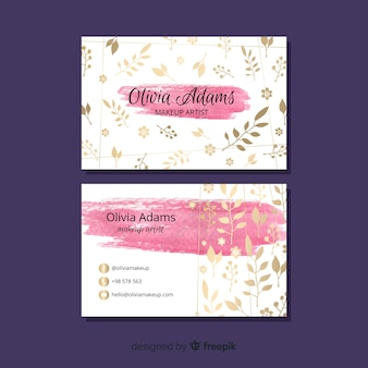Business card template with floral theme