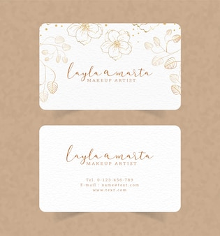Business card template with floral watercolor background